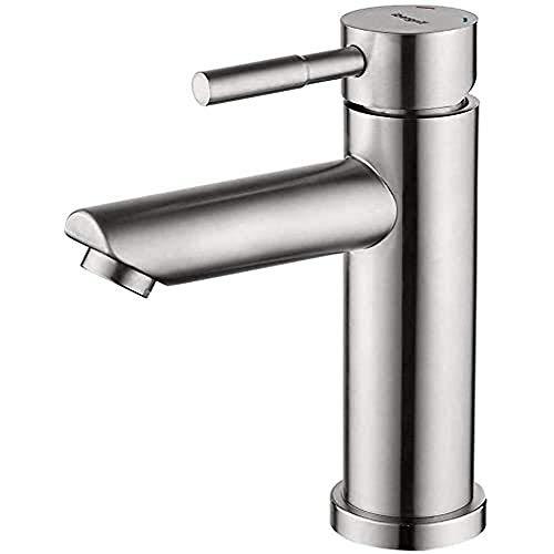 Ibergrif Mundo - Einhebel Wasserhahn für Bad, Edelstahl Waschtischbatterie mit Auslauf Höhe 98mm, Matt
