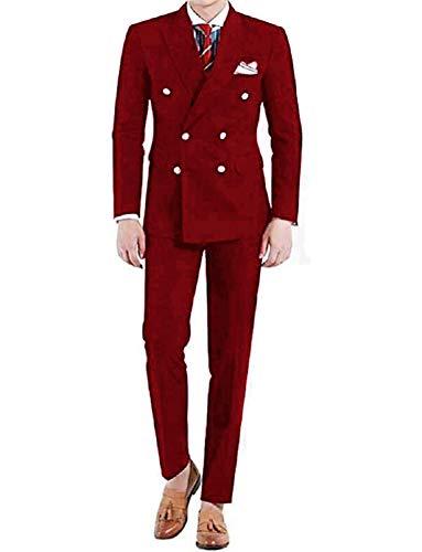 UMISS Herren Zweiteiler Classic Fit Büro Zweireihiger Anzug Jacke & Hose Set