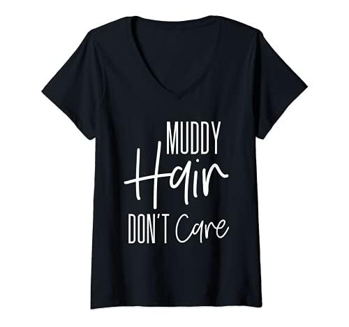 Womens Mud Run Stuff Muddy Hair Dont Care First 5K Running Team V-Neck...