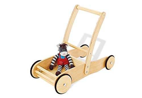 Pinolino Lauflernwagen Uli, aus Holz, mit Bremssystem, Lauflernhilfe mit gummierten Holzrädern, für Kinder von 1 – 6 Jahren, natur