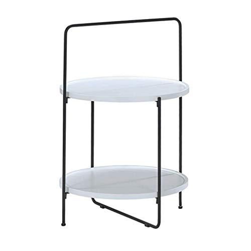 YLCJ ronde tafels voor snacks, salontafel, stoelen, hoekbank, dubbellaags, creatief, met metalen frame voor moderne woonkamer