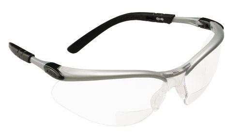 3M Safety Glasses with Readers, BX, +2.0, ANSI Z87, Anti-Fog Anti-Scratch Clear Lens, Silver Frame, Adjustable Length Temples and Lens Angle