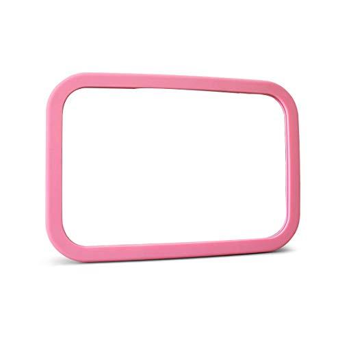 Baby Autospiegel 360 °Drehbar Bruchsicher - Rücksitzspiegel für Babys Babyschalenspiegel Drehbar Doppelriemen (Rosa)