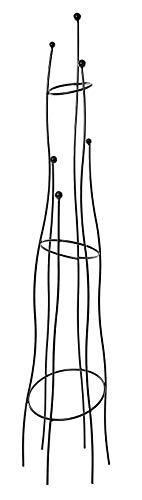 Ruddings Wood 1.5m Black Metal Sculptural Garden Obelisk - Heavy Duty Climbing Rose Plant Support Frame