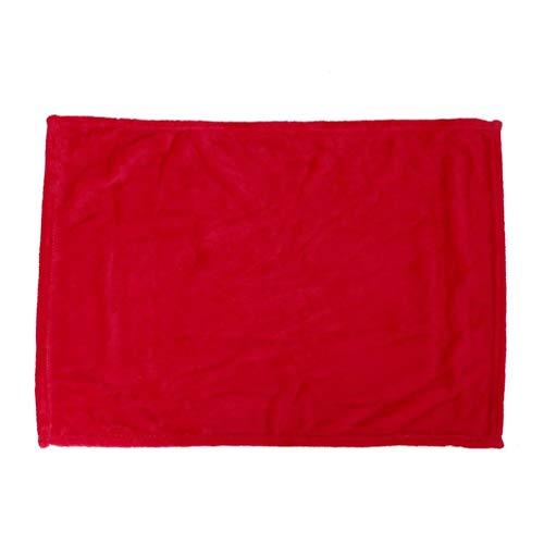 Manta de franela, cómoda y supersuave, tamaño grande, color sólido, 45 x 65 cm, color rojo