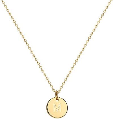 Valloey Rover Gold Initial Pendant Necklace 14K Gold Filled Disc Double Side Engraved 16 5 Adjustable product image
