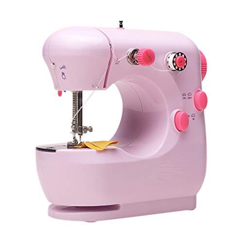 Bixmox Nähmaschinen Elektronische Nähmaschine Doppelfaden-Design Haushalt Nähen Werkzeug Tragbare Nähmaschine für DIY Haushalt Kleidung Stoff Vorhang (Rosa)