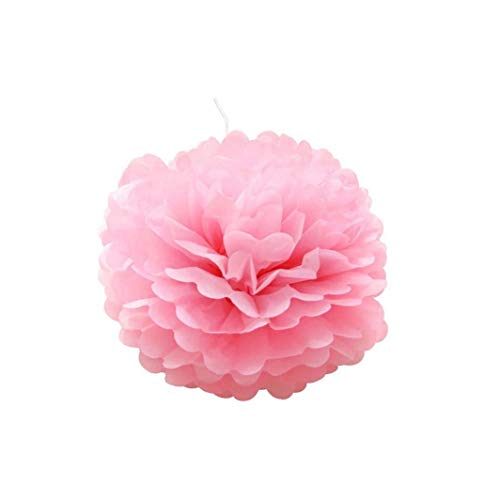 10 Pcs Paper Pompoms Hanging Tissue Flower Balls Paper Ball for Wedding Party Bridal Shower Decoration Pink