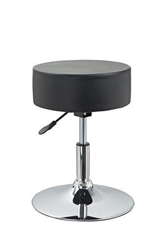 Drehhocker Sitzhocker Hocker RUND höhenverstellbar drehbar aus Kunstleder Farbauswahl Duhome 428S, Farbe:Schwarz, Material:Kunstleder