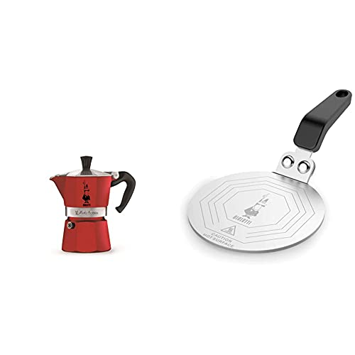 Bialetti Moka Express Red, Cafetera Italiana Espresso, Aluminio + DCDESIGN08 Difusores de calor, adaptador para el utilizo de cafeteras y baterías de cocina sobre placas de inducción, Metal, Negro