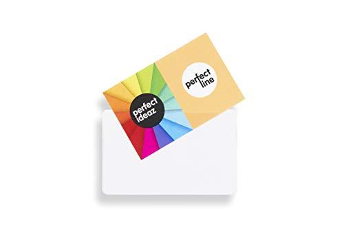perfect line 100 bolsillos autoadhesivos para tarjetas de visita, 95x60 mm, funda tarjetero adhesivo permanente, transparente y claro, accesorio para guardar letreros con nombres, tarjetas de crédito