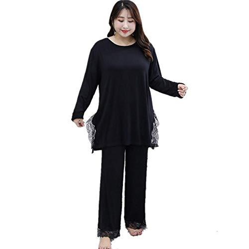 STJDM Camicia da Notte,Pigiama Taglie Forti per Donna Sexy PJ Set Modal Manica Lunga Homewear Pizzo Nero 6XL Nero