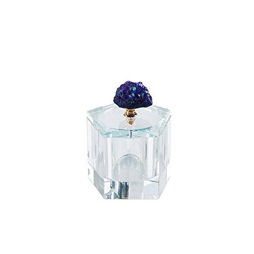 Sagebrook Home - Caja de cristal, color morado, 4 x 4 x 4.25 pulgadas