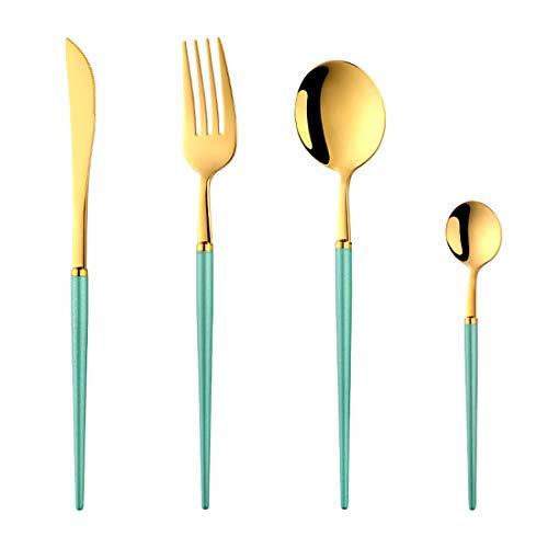Buyer Star Couverts pour 1,18/10 ustensiles en Acier Inoxydable Vaisselle en Or Vert Couteau Couteau Fourchette cuillère cuillère à café, 4 pièces de Vaisselle