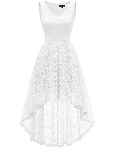 bridesmay Damen Hi-Lo Spitzenkleid Ärmellos Vokuhila Kleid Cocktailkleid BrautjungfernkleiderWhite L