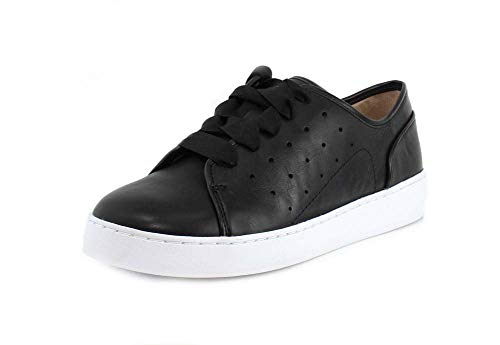 Vionic Women's Splendid Keke Lace-up Sneakers - Ladies Walking Shoes Concealed Orthotic Arch Support Black Leather 6.5 M US