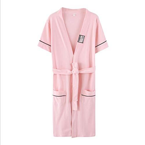 YRTHOR Amantes Albornoz de Kimono de algodón, hasta la Rodilla Dama de Honor Mujeres Hombres Bata de baño sólida Talla Grande Bata de Novia Ropa de Dormir,Mujer Rosa,XXL