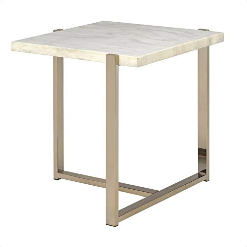 Juana Faux Marble Top End Table, Stone, Top Color: White Faux Marble