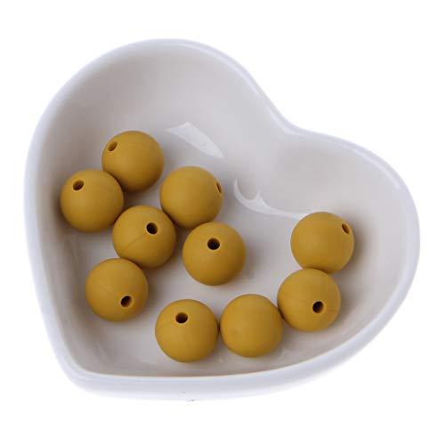 ZOUCY 10 Piezas de Perlas de Silicona 12 MM Teether Bolas Redondas de Silicona Bebé Juguete DIY Mostaz