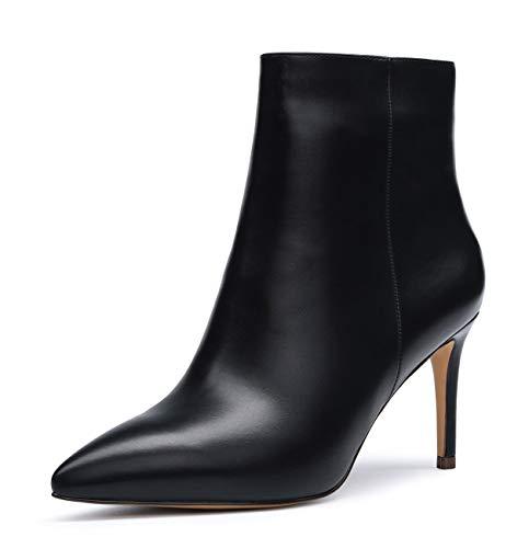 CASTAMERE Damen Reißverschluss Stiefeletten Samt Innenfutter Stilettos 8CM Schwarz Pu Schuhe EU 45