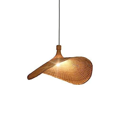 JISHUBO Lámpara Colgante Nórdica Tejida De Bambú, Luz Colgante Creativa con Forma De Abanico, Lámpara De Araña De Una Sola Cabeza E27, Lámpara De Techo De Mimbre De Ratán