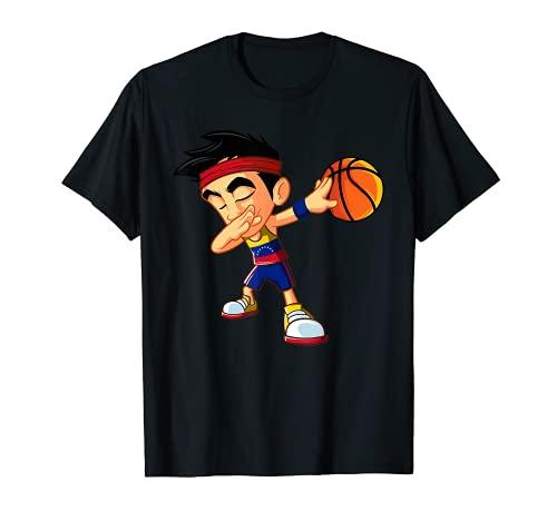 Dabbing Baloncesto Niño Jugador Bandera Venezuela Divertido Dab Dance Camiseta