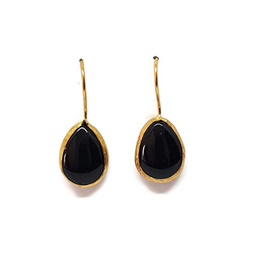 Mystic Jewels by Dalia - Pendientes Largos forma de gota con Piedra Natural (Negro)