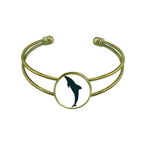 Blue Ocean Freundlicher stromlinienförmiger Delfin-Armreif Retro offener Manschettenschmuck