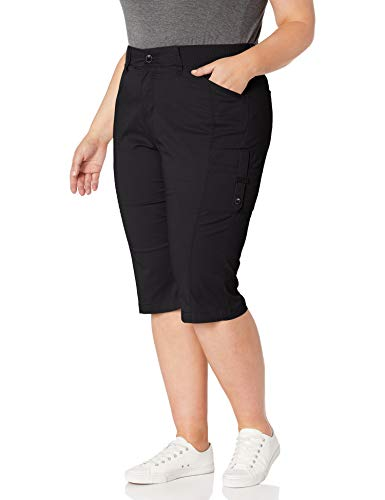 LEE Women's Flex-to-go Relaxed Fit Cargo Skimmer Capri Pant, Black, 14 Petite