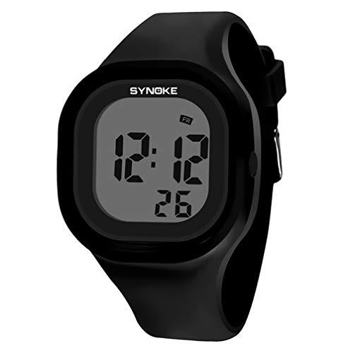 Relógio digital esportivo à prova d'água Hemobllo com pulseira de silicone que brilha no escuro, relógio de pulso para mulheres, homens e crianças (rosa), Preto, 23.5*4.5 cm