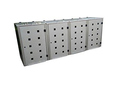 Mülltonnenbox Edelstahl, Modell Eleganza Quad5, 120 Liter als Viererbox