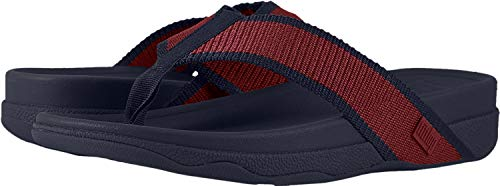 FitFlop Men's Surfer Sandal, ff red/Midnight Navy, 12 M US