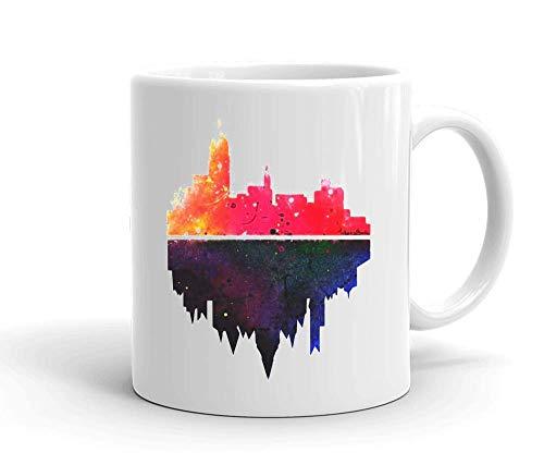 IDcommerce Dark City Design Tasse en Céramique Blanche pour Le Thé Et Le Café