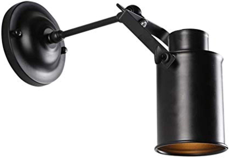 Retro Wandleuchte, Bügeleisen Wandleuchte Gang Restaurant Clothing Store einzelne Leiter Beleuchtung E27 Schwarz verstellbarer Neigungswinkel Neue (Gre  8,5  17 CM)