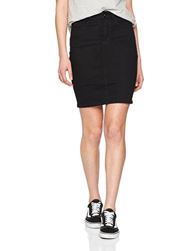 VERO MODA Damen VMHOT Nine HW DNM Pencil Skirt GA NOOS Rock, Schwarz (Black Black), M