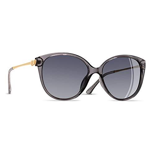 YNJZ 2020 Tendencias Mujer Gafas de sol polarizadas CATEYE Gafas de sol para mujer Gafas de viaje de conducción Love Temple UV400, C4 Gris claro