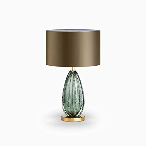 Bedside Table Lamp Post-modern Style Desk Lamps with Green glass for Living Room, Bedroom, Office. Nightstand Lamp Desk Lamp Large Vintage Table Lamp for Bedroom and Living Room Desk Lamp