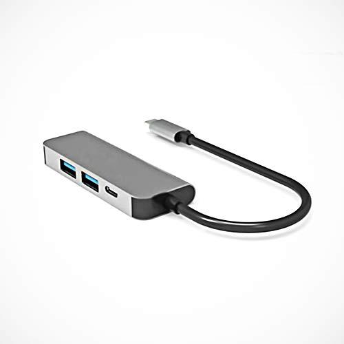 Adaptador USB C 4 en 1 con 4 K USB C a HDMI, multi-puerto, compatible con iPad Pro, MacBook Pro XPS y otros dispositivos tipo C, 100 W de potencia, USB 3.0