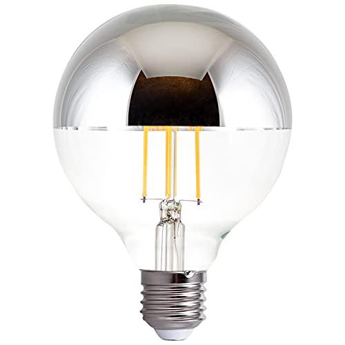 Paco Home LED Glödlampa A60/G95 För E27 Fattning Ljuskälla M. Krom Toppförspeglad Dimbar, Ställ in storlek:Toppförspeglad silver 2-pack, Form av belysning:G95-klot