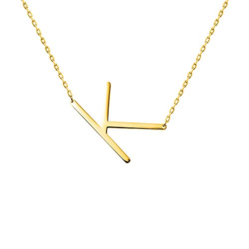 WIGERLON Stainless Steel Initial Letters Necklace for Women and Girls Color Gold and Silver from A-Z Letter K Color Gold
