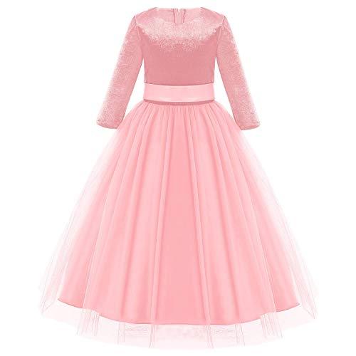 Sweetop Vestidos de niña para niños de verano vestidos para niños vestidos de bebé vestido de princesa de tul de manga larga de Bowknot Terciopelo Rosa 2-3 Años
