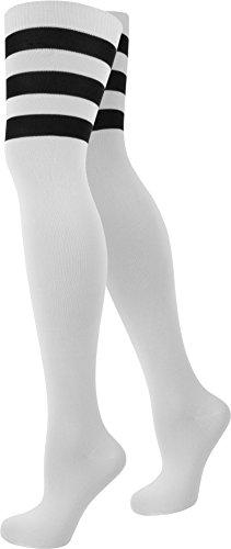 normani Damen Overknee Überknie halterlose Strümpfe in schwarz weiß und gestreift Farbe American/Stripes/Weiß Größe 1 Paar