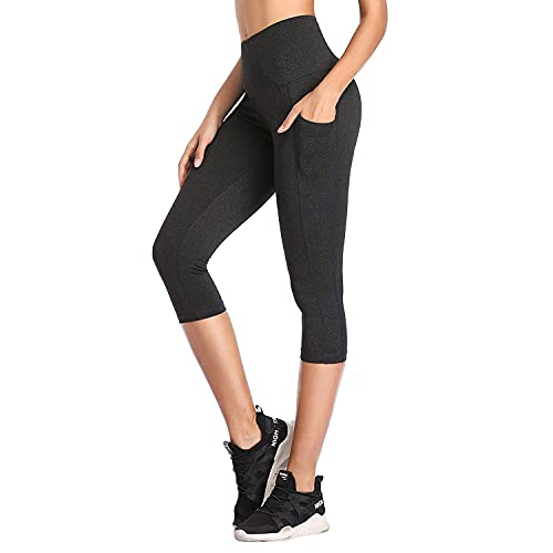SIMIYA Womens Sports Leggings High Waist Fitness Capris Running Tights with Pockets 3/4 Length Slim Fit Cropped Yoga Pants Power Stretch Gym Trousers (Grey, M)