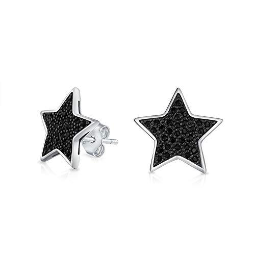 CZ Noir Micropave Usa Patriotic Rock Étoile Clous Et Puces D'Oreille Zircone Cubique Pour Femme Homme Argent Sterling