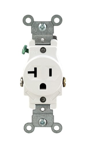 Leviton 102-05801-WSP 20-Amp 125-Volt Single Receptacle Electrical Power Outlet, White