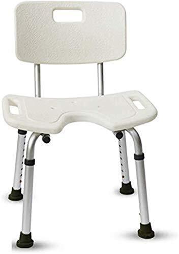 RFJJAL Duschhocker Badesitz Bad Stuhl mit Rückenlehne Einstellbare Höhe Anti-Rutsch Leichtes Aluminiums behinderten älteren Menschen 150kg