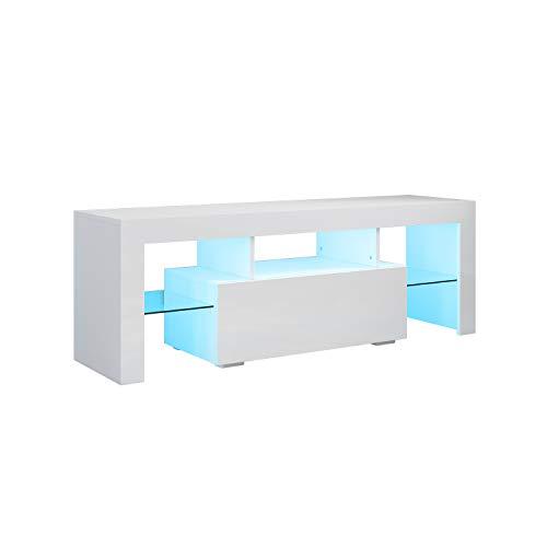 SONNI TV Schrank Weiss, TV Board Hochglanz, mit LED Beleuchtung(12 Farben können eingestellt Werden), mit Klapptür, mit Glasregal, Griffloses Design, 130 x 35 x 45 cm