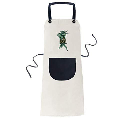 Ananas Plant Fruit Eet Groene Koken Keuken Beige Verstelbare Bib Schort Pocket Vrouwen Mannen Chef Gift
