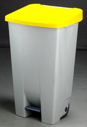 23400   Contenedor basura selectivo con pedal y ruedas, color amarillo, talla 120 L