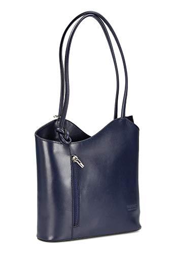 Belli ital. Leder Handtasche Backpack Damen Rucksack aus feinstem Leder in dunkelblau - 28x28x8 cm (B x H x T)
